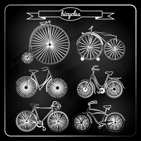 set of bicycles in vintage  style. Vector