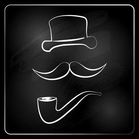gentlemen graphic isolated on chalckboard