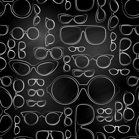 looking through an object: seamless pattern from chalk glasses