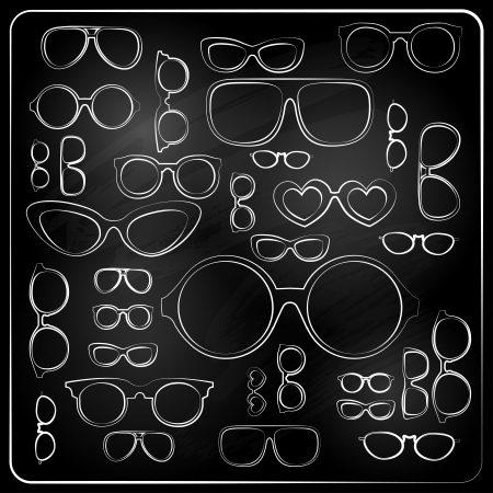vitnage set from chalk glasses Stock Vector - 25152784