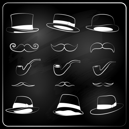 set of moustaches, hats and the pipes drawn with chalk Vector