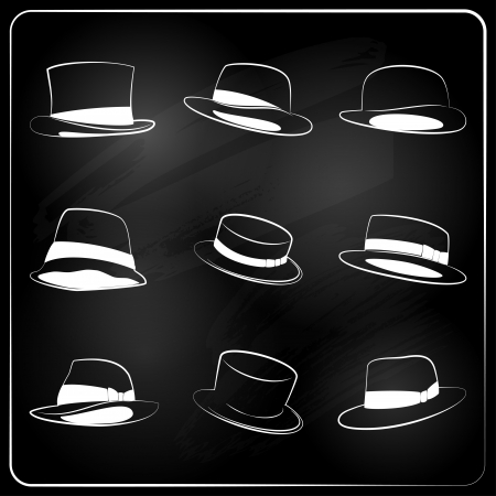 chalkboard hipster hat collection.