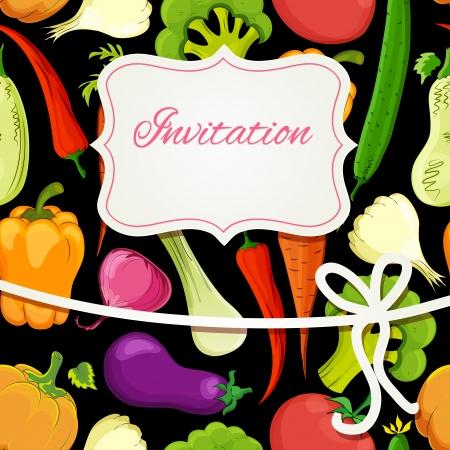 vegetable cartoon: tarjeta de invitaci�n de dibujos animados de verduras en el fondo negro