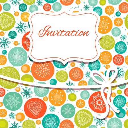 Christmas hand draw invitation card. Vector