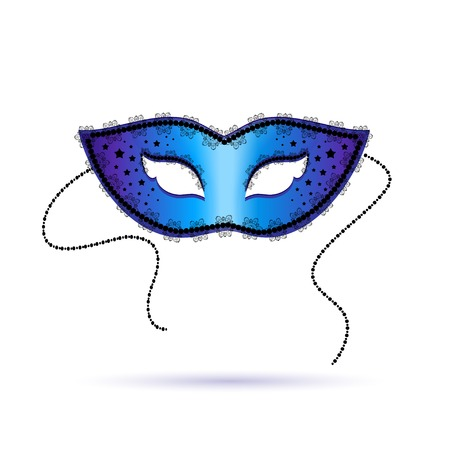 decoration decorative disguise:  blue ornate carnival mask, vector illustration.