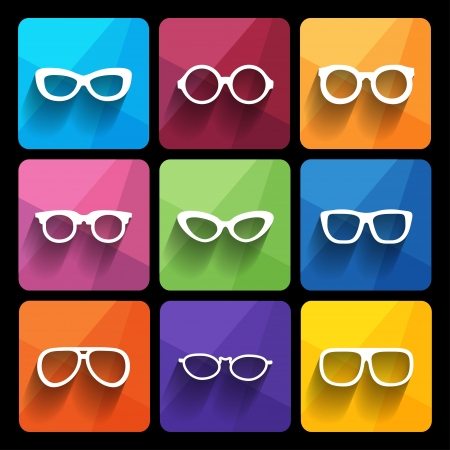 sunglasses reflection: Glasses frame icons. Vector illustration