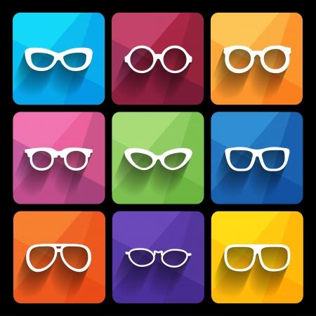 gafas de sol: Marco de los vidrios iconos. Ilustraci�n vectorial Vectores