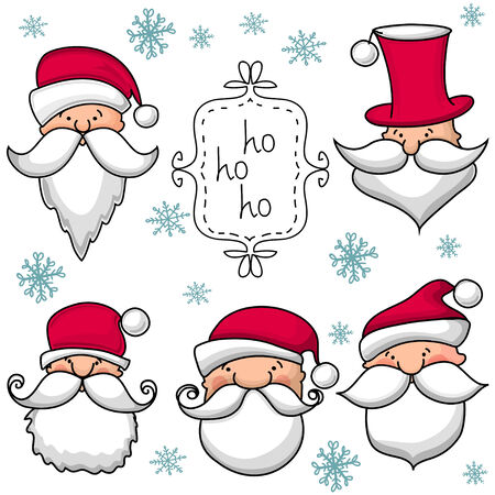 Christmas set  with Santa Claus . Vector