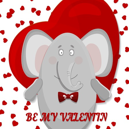 the elephant wishes happy Valentine's day Vector