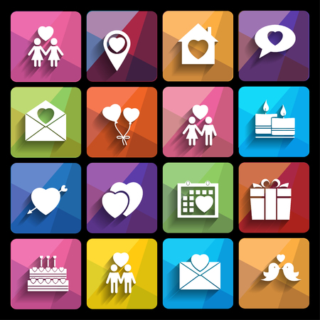 love icons set in flat style Stock Vector - 25153335