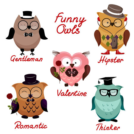 funny owls. set for your design Vector