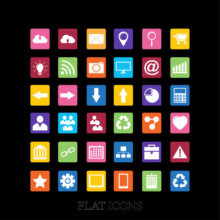 Web Icons Set in Flat Design . Vector