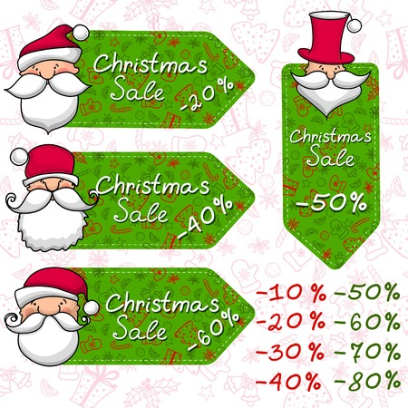 Christmas sale and Santa Claus. Vector
