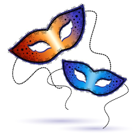 two Venetian carnival masks on a white background. Vector