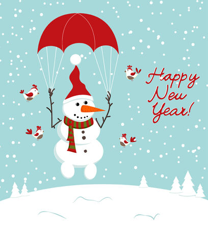 snowman with a parachute and birds. Vector