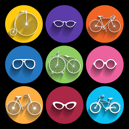 Trendy  hipster  Icons With Long Shadow. Vector