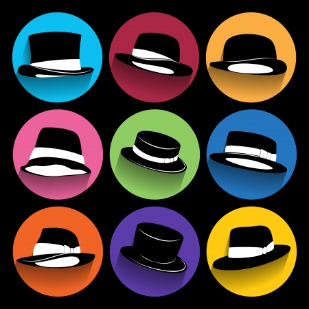 akubra: Trendy  hipster  Icons With Long Shadow.