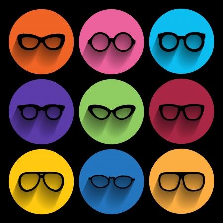 arte optico: Marco de los vidrios iconos. Ilustración vectorial Vectores