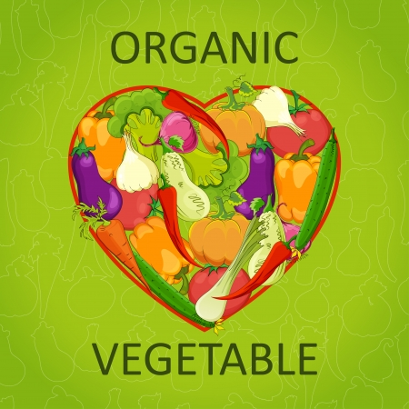 Healthy life - heart shape with vegetables. Vector