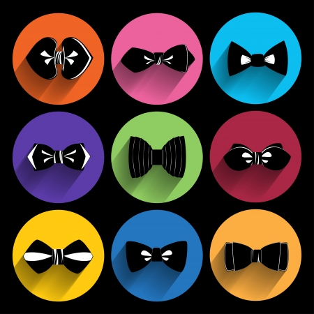Trendy  bow tie  Icons With Long Shadow. Vector
