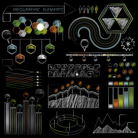 Set of chalkboard infographics and business icons