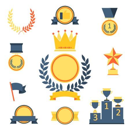 award winning: Trophy and awards icons set.