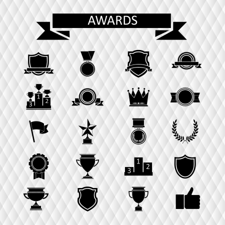 awards and trophies set of icons Illustration