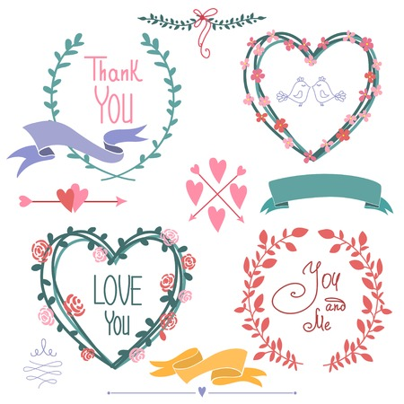 Wedding graphic set, wreath, flowers, arrows, hearts Ilustração