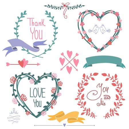 Wedding graphic set, wreath, flowers, arrows, hearts Illustration