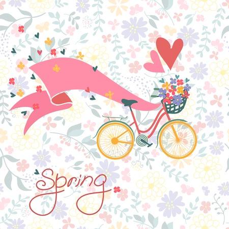 Bicicleta con una cesta llena de flores