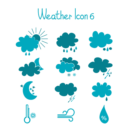 Hand drawn weather icons set Vector