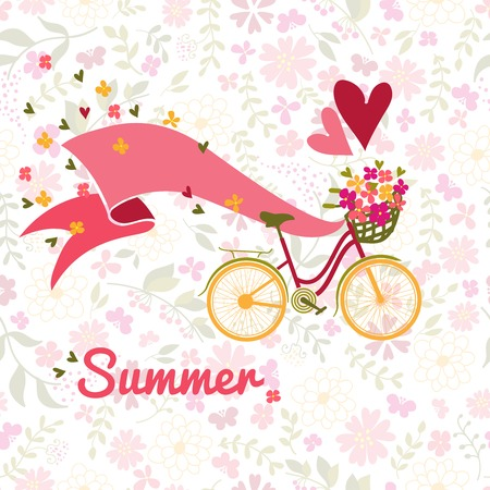 badger dog: summer, bicycle and flowers background