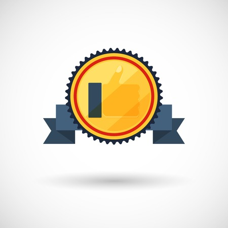 symbol of the winner, badge with tapes ,vector illustration Vector