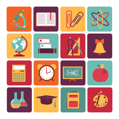 social history: set of icons education flat style