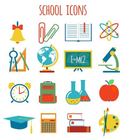set of icons education flat style