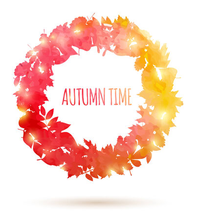 Watercolor painted autumn leaves Vector