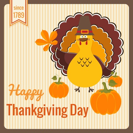 Thanksgiving Day vintage card. Vector