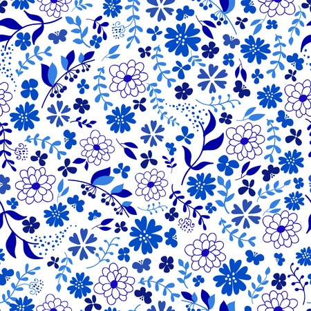 seamless pattern from blue flowers