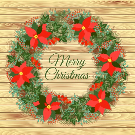 Christmas wreath on a wooden background Vector