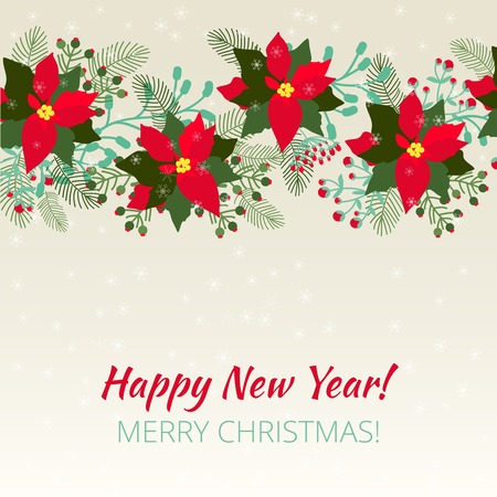 Merry Christmas and Happy New Year Card. Christmas background Vector