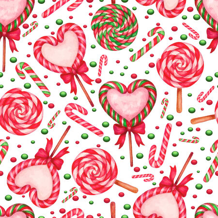 jellybean: vector watercolor sugar candies . seamless background whith lolipop Illustration