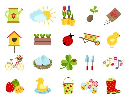ladybug on leaf: spring icons. flat style set