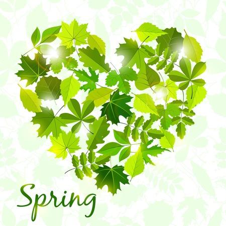 rimmed: spring background from leaves . Illustration