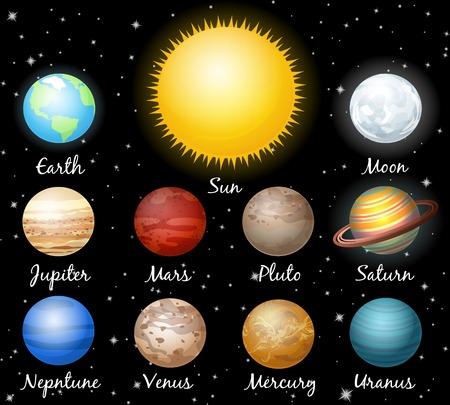 conjunto de planetas contra el espacio