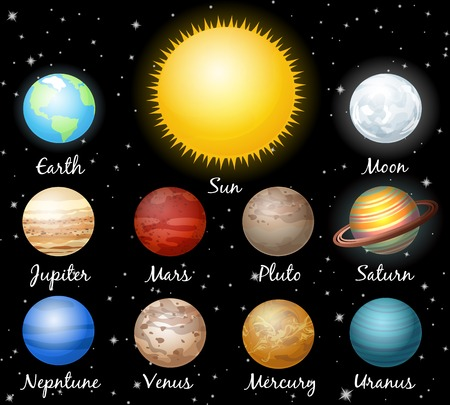 set of planets against space