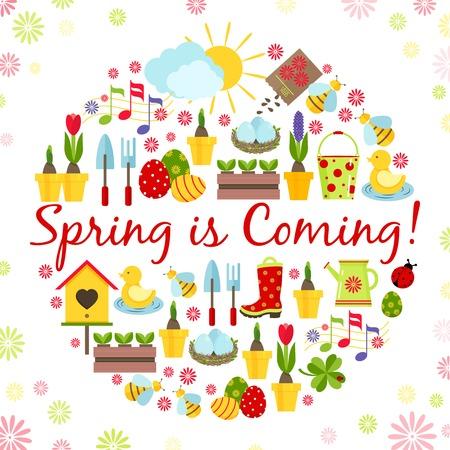 � spring: fondo redondo resorte Vectores