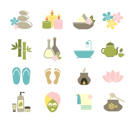 spa still life: set of flat icons for spa. Illustration