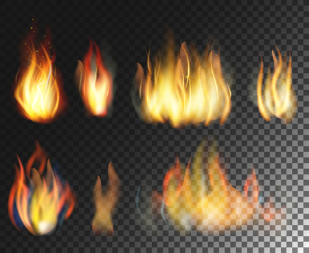 Fire. Vector  realistic elements set on  transparent background