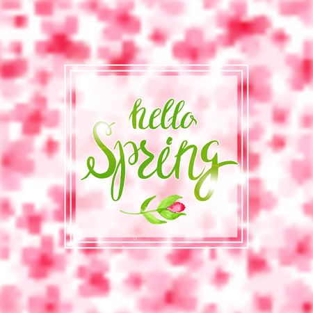 asian gardening: Spring Blurred Background with Lettering and Flowers. Design for Spring Background, Spring Frame, Spring Flower, Spring Sale.Spring Vector Greeting Card Design. Watercolor Imitation Spring Background
