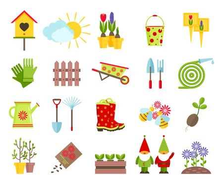 Tuingereedschap en andere elementen van het tuinieren vlakke pictogrammen set.Garden sculptuur kabouters, nestkastje, gazon van bloemen en andere elementen van de tuin decoratie geïsoleerd op witte background.Cartoon vlakke pictogrammen. Vector Illustratie